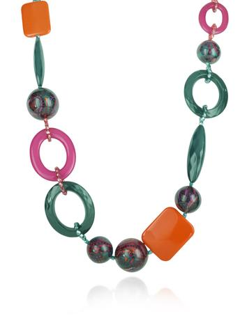 I Bijoux di Simonetta Green Chain Loops and Charms Necklace