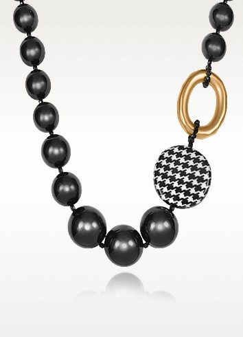 Black and Gold Ring Necklace - I Bijoux di Simonetta