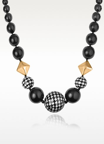 Black and Gold Large Bead Necklace - I Bijoux di Simonetta