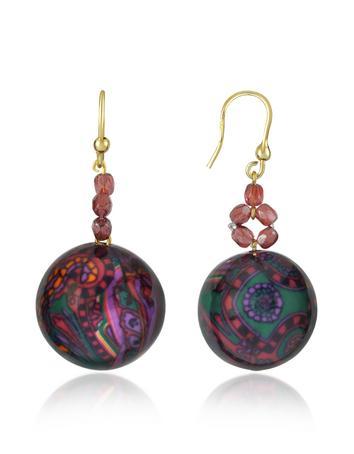 I Bijoux di Simonetta Turquoise and Purple Round Drop Earrings