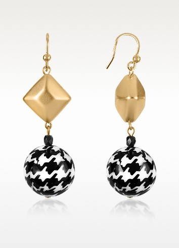 Black and Gold Bead Drop Earrings - I Bijoux di Simonetta