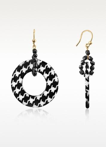 Black Check Loop Earrings - I Bijoux di Simonetta