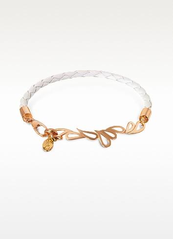 Mari Friendship Leather and Rose Gold Bangle - Sho London