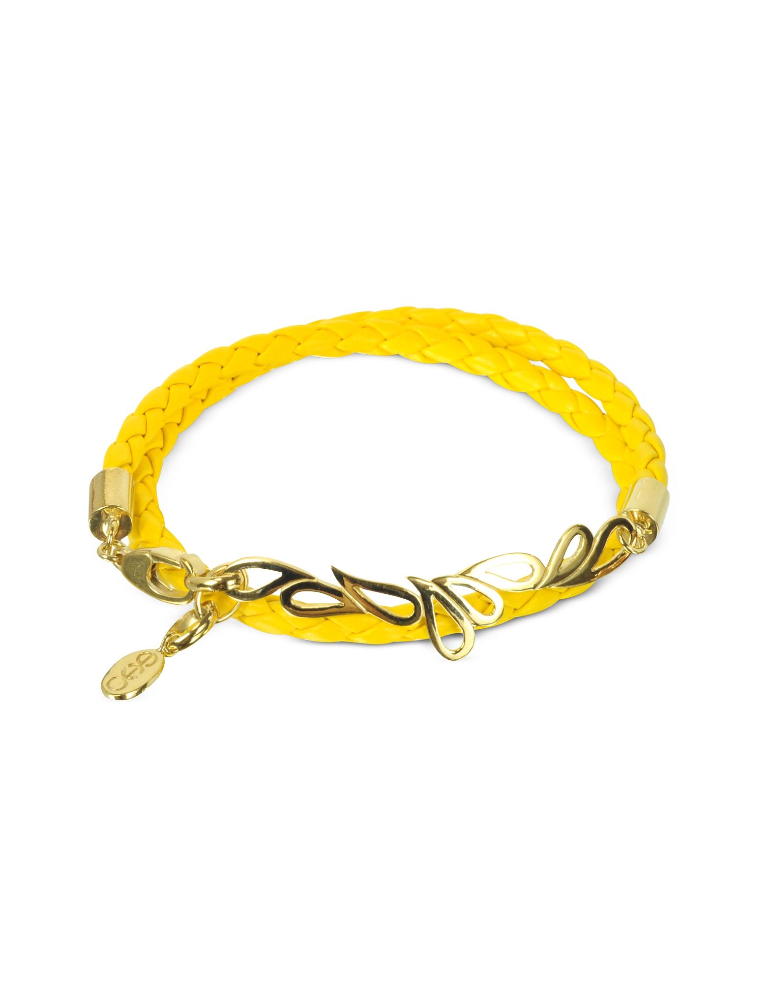 Sho London Bracelets, Mari Fiendship Silver Vermail & Leather Double Bracelet