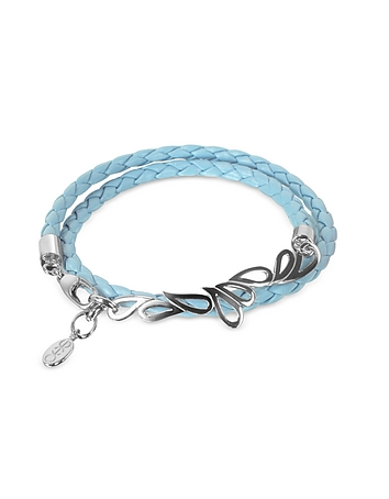 Sho London - Mari Friendship - Sterling Silver & Leather Double Bracelet