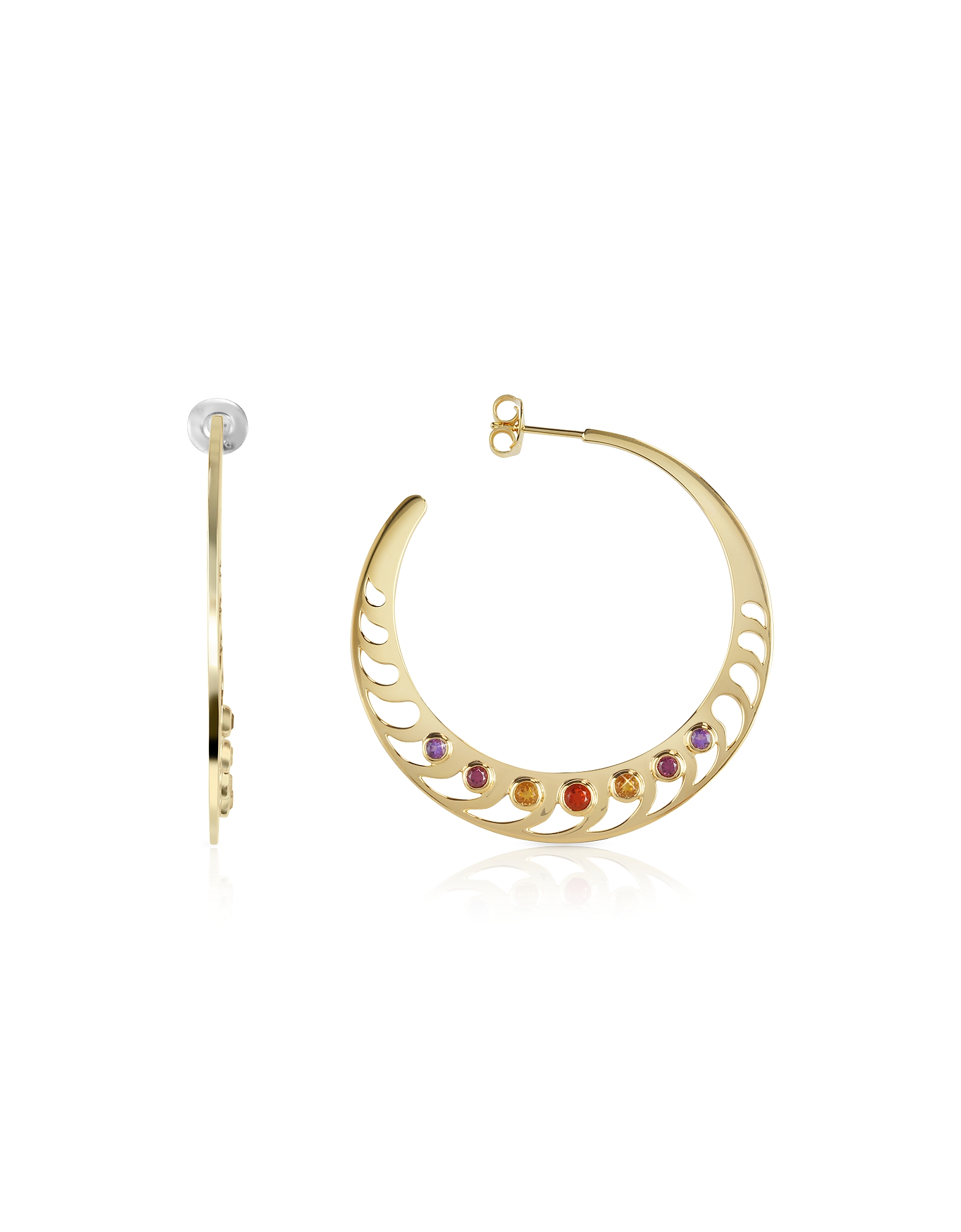 Sho London Earrings, Mari Rush Silver Vermeil Hoop Earrings