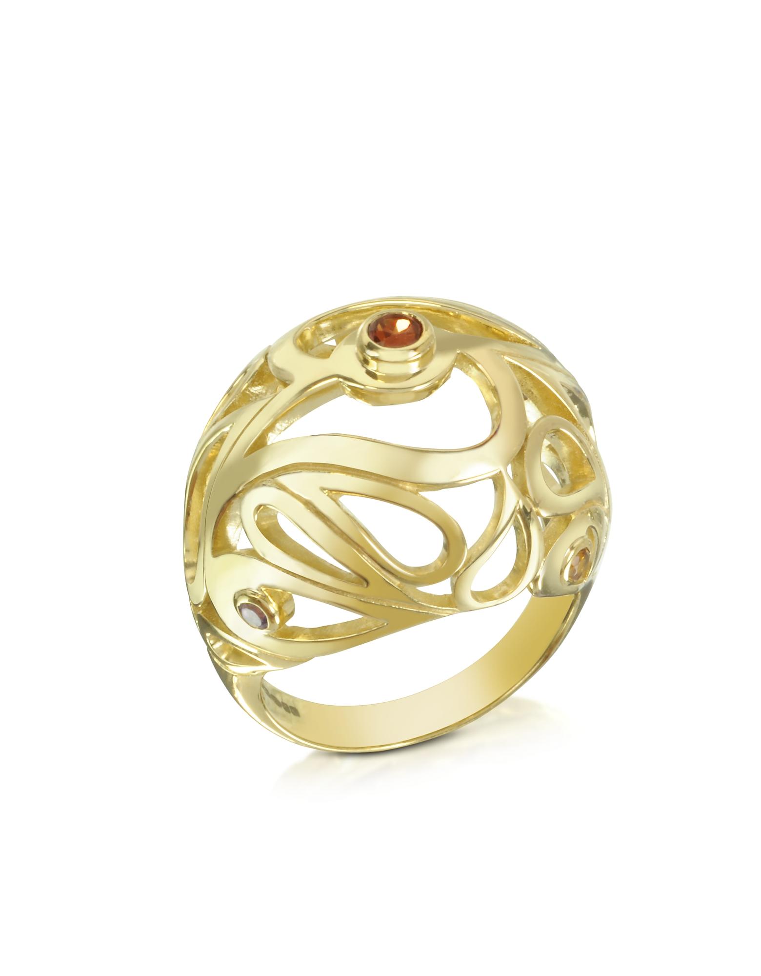 Mari- Кольцо из Серебра с Напылением Золота и Аметистом, Цитрином и Родолитом