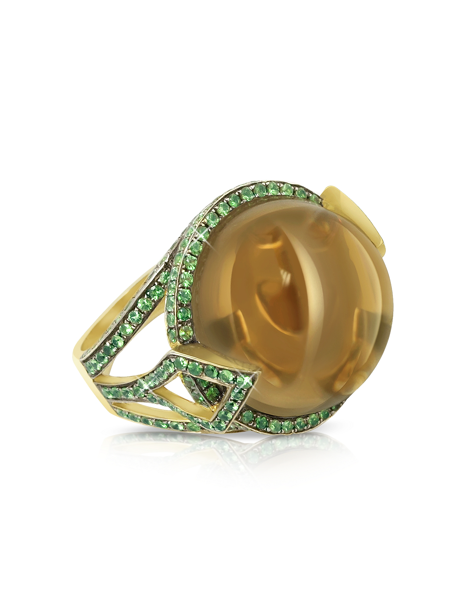 Sho London Rings, 18K Gold V-Seal Smoky Quartz Feodora Ring