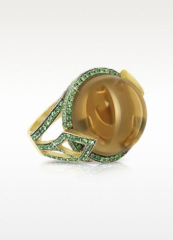 18K Gold V-Seal Smoky Quartz Feodora Ring  - Sho London