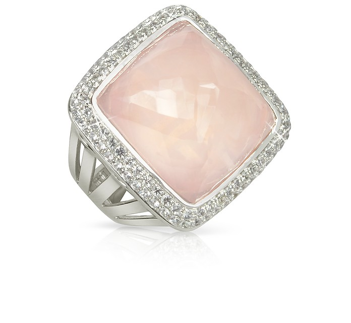 18K Gold V-Seal Rose Quartz Victoria Ring - Sho London
