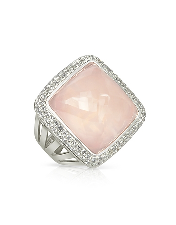 Sho London - 18K Gold V-Seal Rose Quartz Victoria Ring