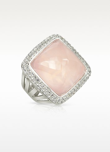 Victoria - Bague en or blanc et quartz rose - Sho London