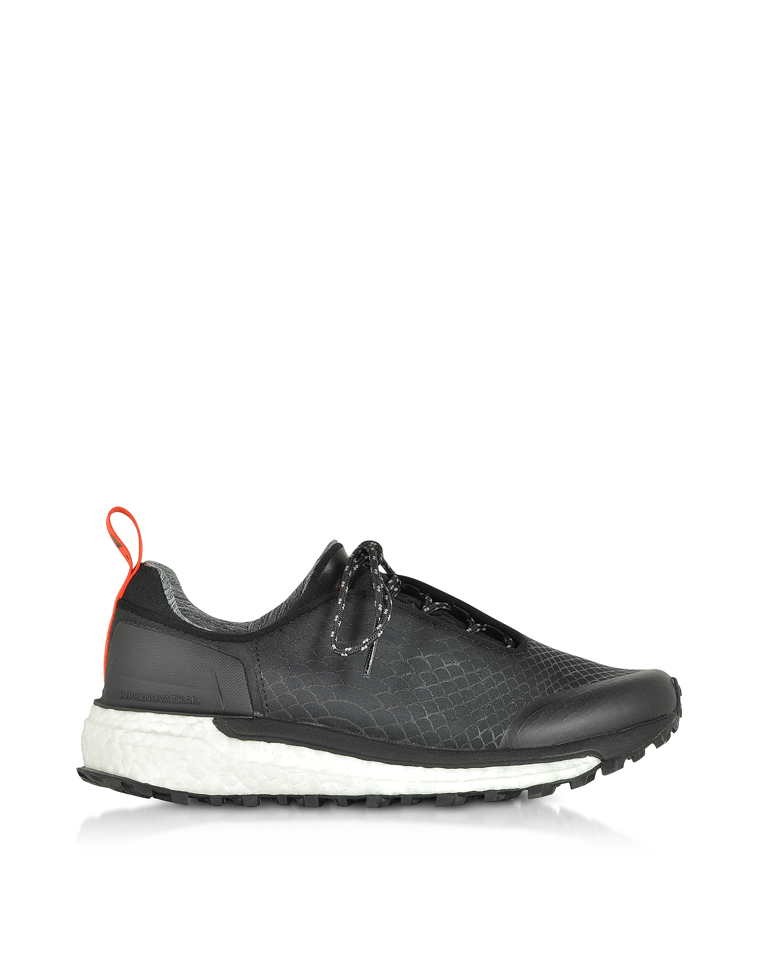 Adidas Stella McCartney Shoes, Black Supernova Trail Sneakers w/Asymmetrical Lace Closure