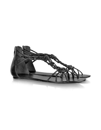 Rafee Black Leather Flat Sandal Sandal