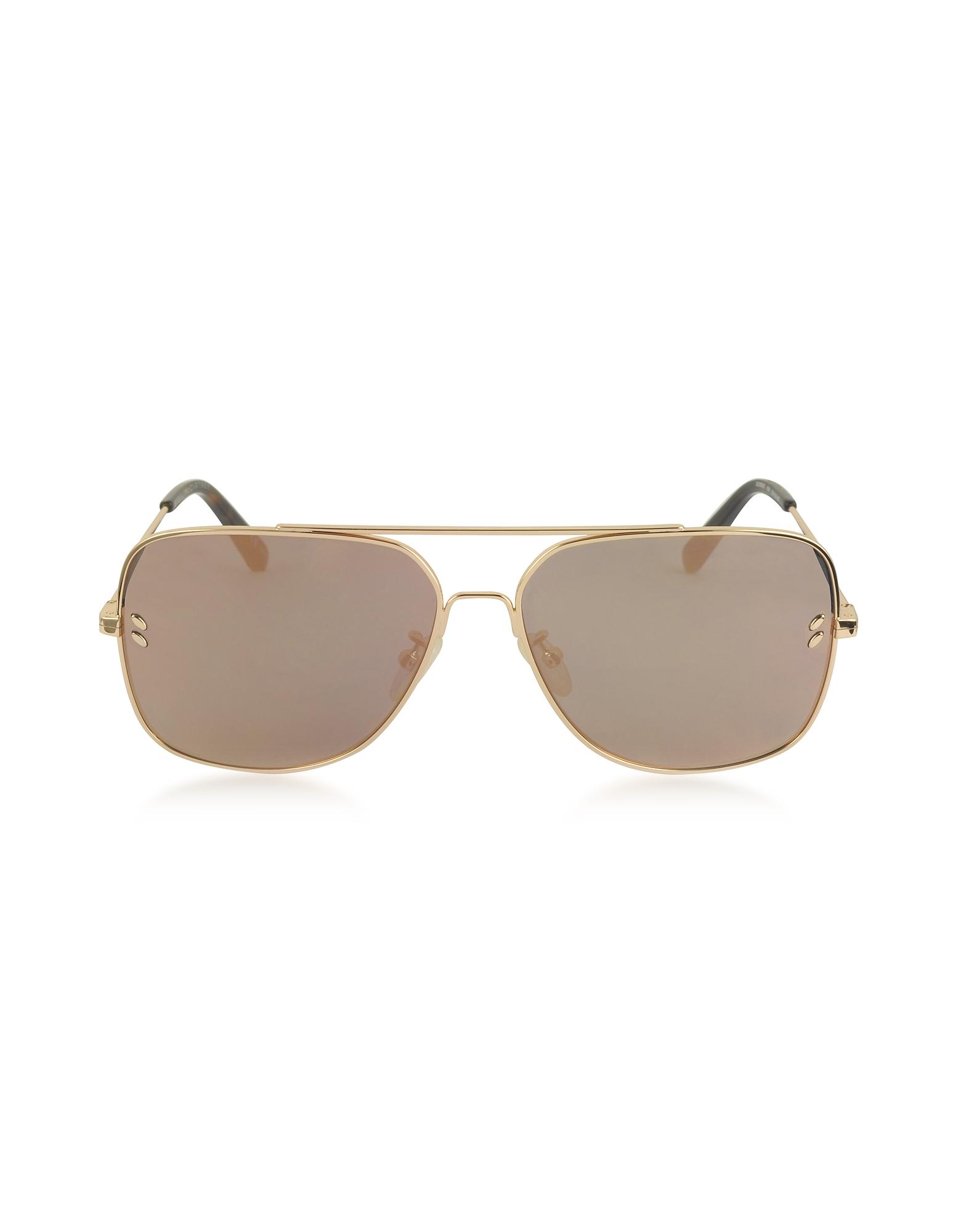 Stella McCartney Sunglasses, SC0055S Gold Metal Aviator Unisex Sunglasses