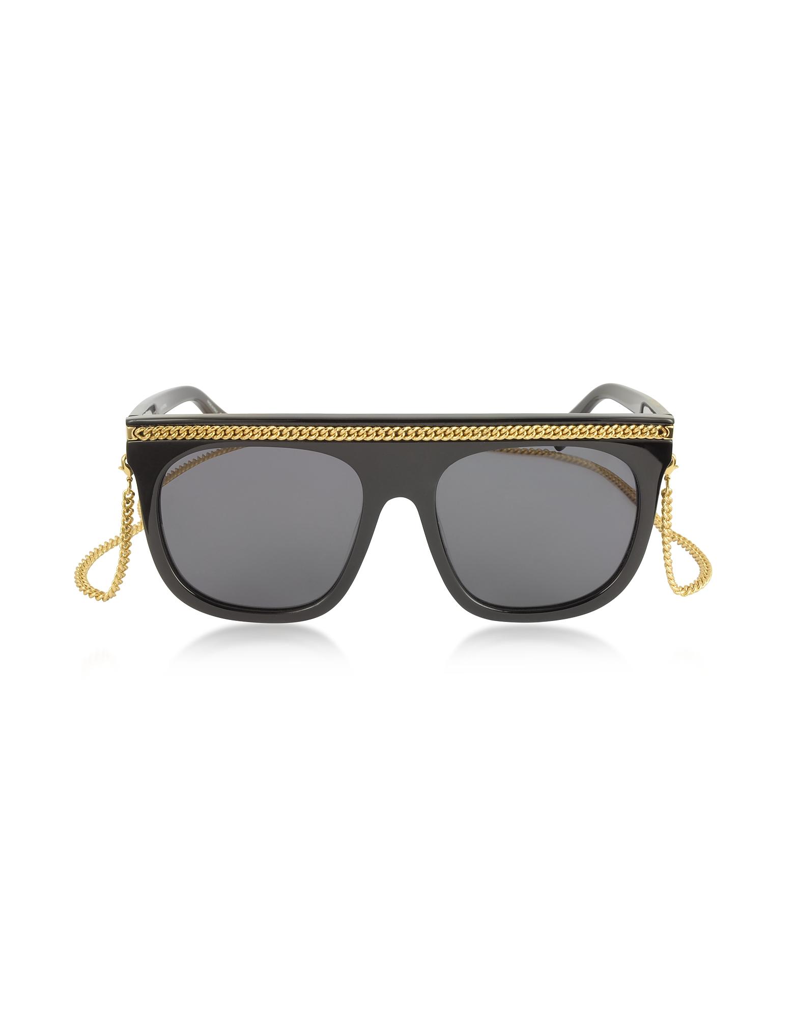 Stella McCartney Sunglasses, SC0043S Acetate Shield Women's Sunglasses w/Goldtone Chain