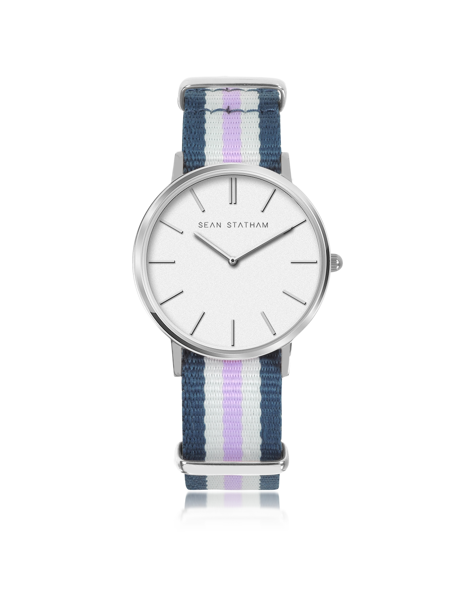 Image of Sean Statham Designer Women's Watches, Stainless Steel Unisex Quartz Watch w/Blue and Violet Striped Canvas Band