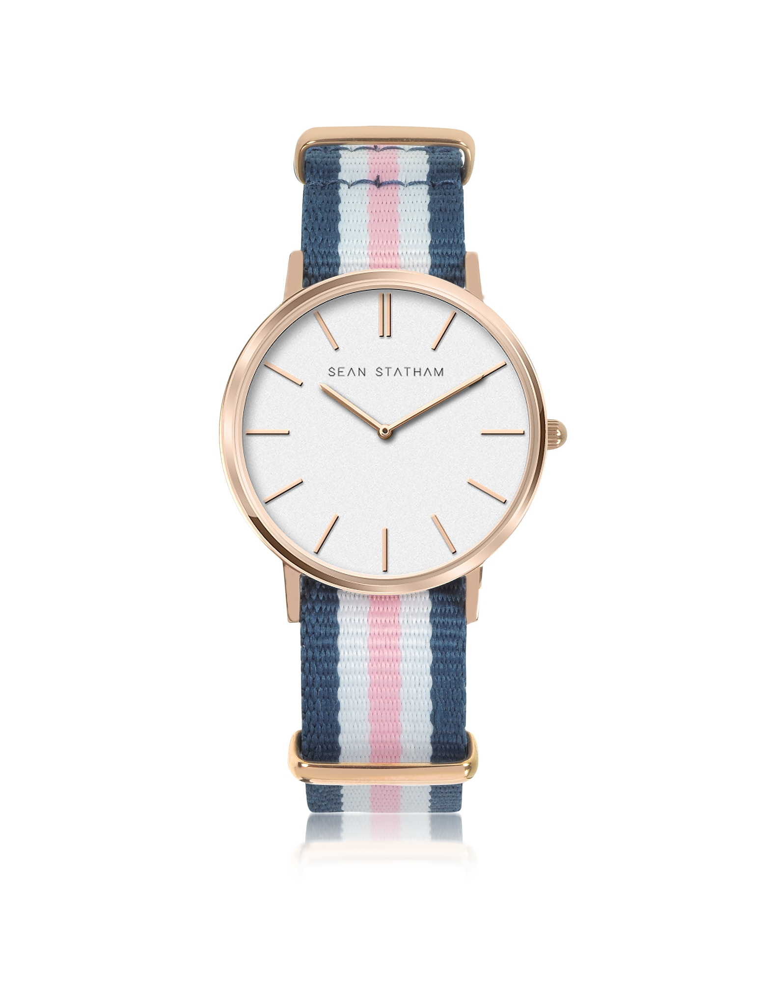 Image of Sean Statham Designer Women's Watches, Rose Goldtone Stainless Steel Unisex Quartz Watch w/Blue and Pink Striped Canvas Band