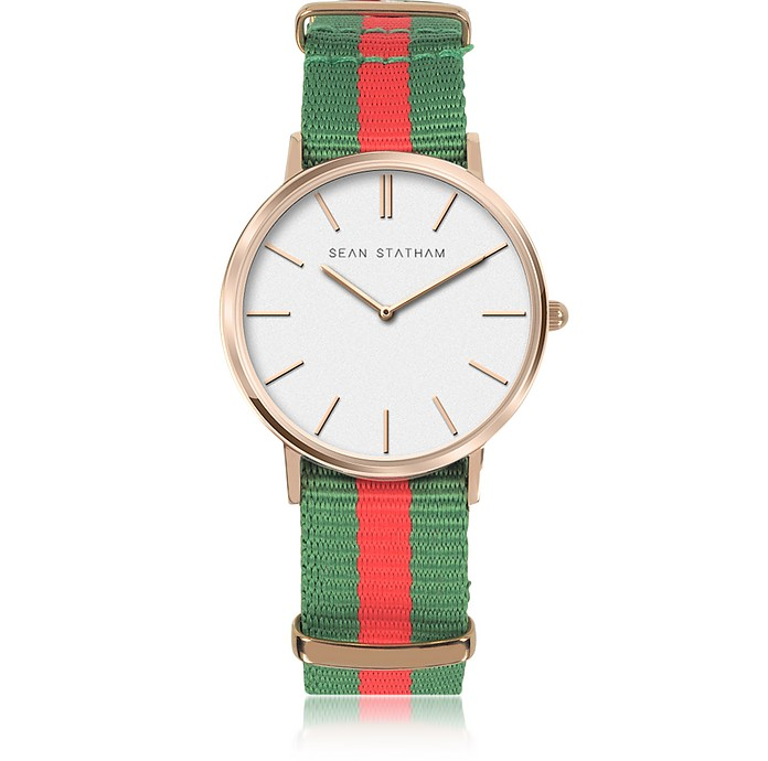 Rose Goldtone Stainless Steel Unisex Quartz Watch w/Green and Red Striped Canvas Band - Sean Statham