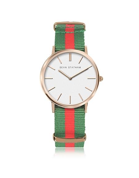 Sean Statham Unisex Armbanduhr aus Edelstahl in rosegold mit Canvas-Armband in grün und rot