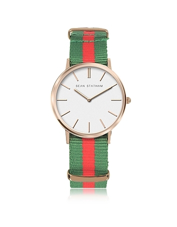 Sean Statham - Rose Goldtone Stainless Steel Unisex Quartz Watch w/Green and Red Striped Canvas Band
