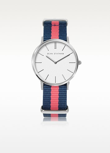 Stainless Steel Unisex Quartz Watch w/Blue and Pink Striped Canvas Band - Sean Statham