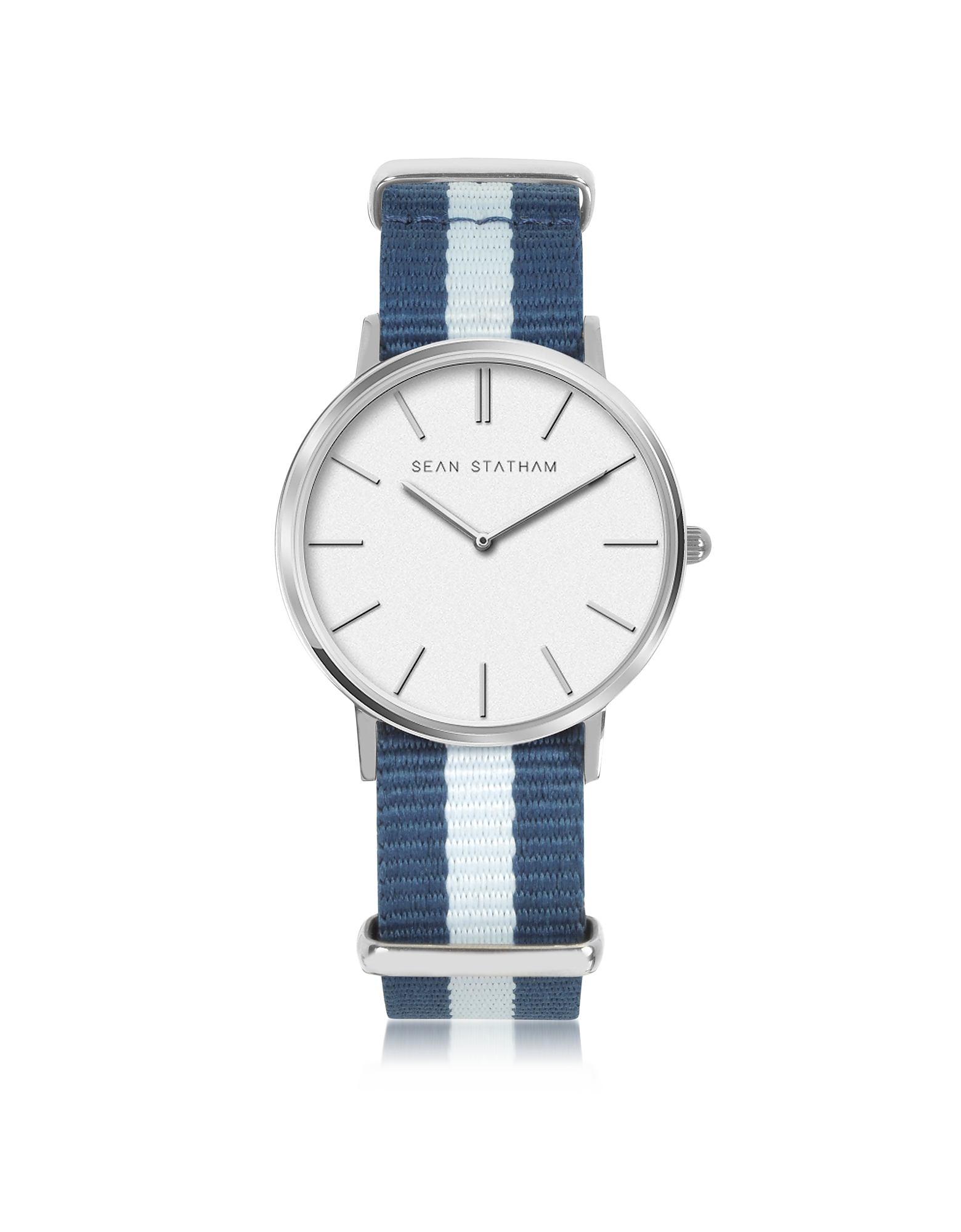 Sean Statham Women's Watches, Stainless Steel Unisex Quartz Watch w/Blue Striped Canvas Band
