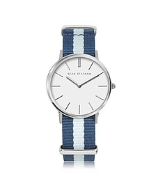 Stainless Steel Unisex Quartz Watch w/Blue Striped Canvas Band - Sean Statham