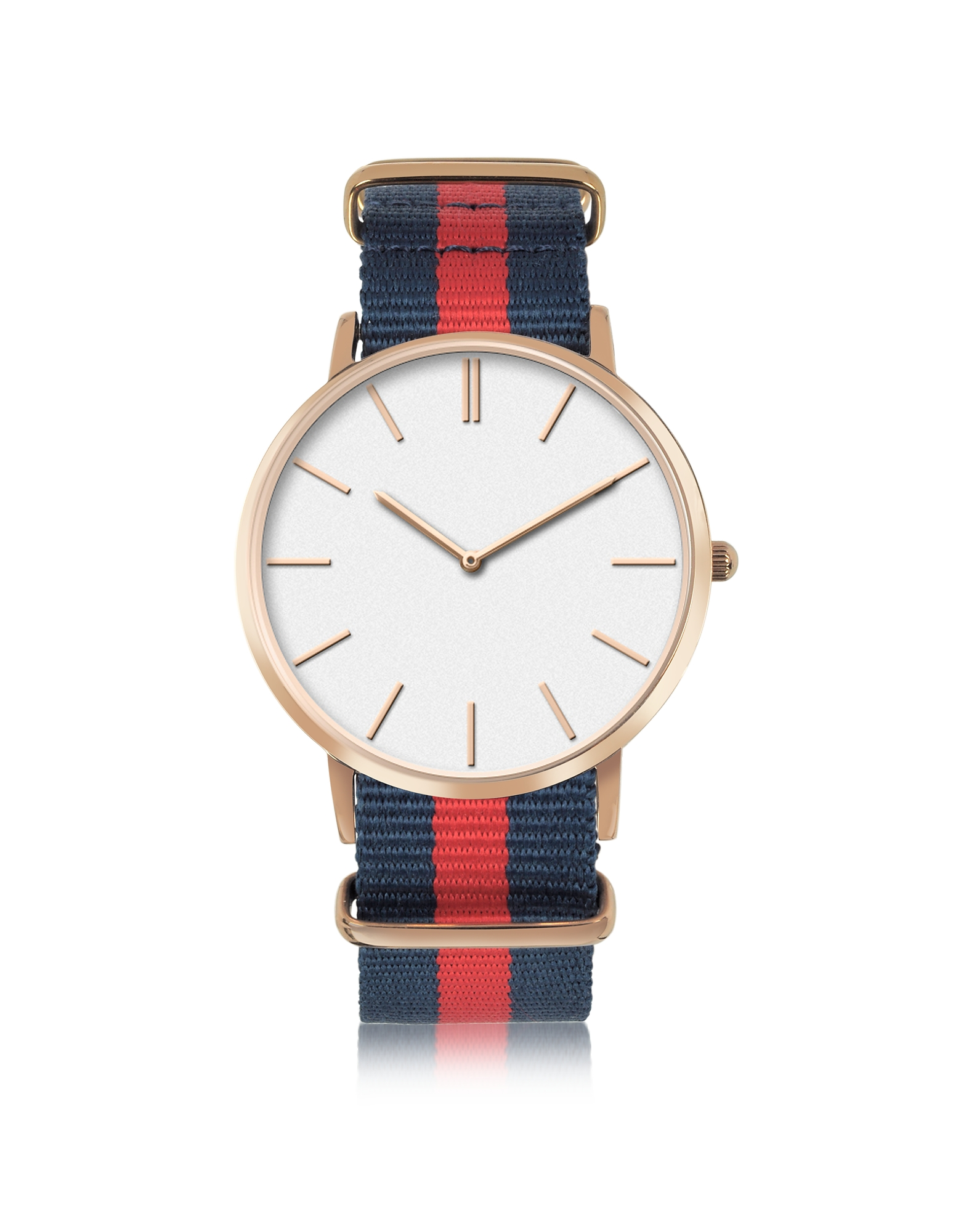 Rose Goldtone Stainless Steel Unisex Quartz Watch w/Light Blue and Pink Striped Canvas Band