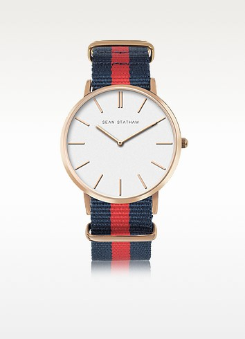 Rose Goldtone Stainless Steel Unisex Quartz Watch w/Light Blue and Pink Striped Canvas Band - Sean Statham