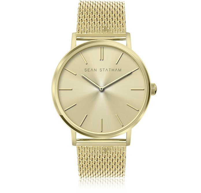 Goldtone Stainless Steel Unisex Quartz Watch w/Golden Dial - Sean Statham