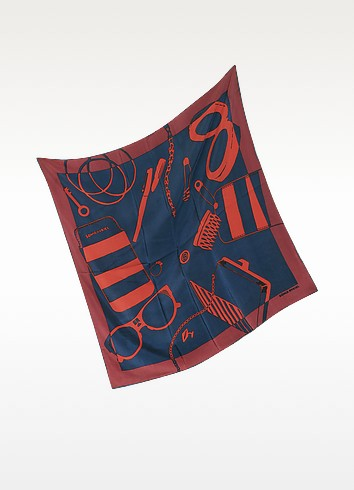 Red, Blue and Burgundy Accessories Print Silk Square Scarf - Sonia Rykiel