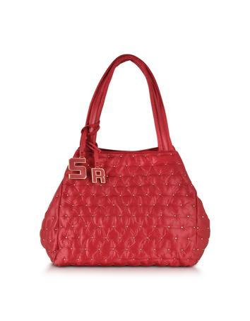Alban Red Nylon w/Golden Studs Tote Bag