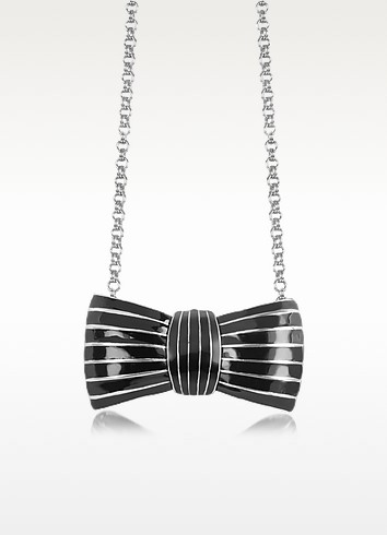 Elisabeth Black Enamel Bow Long Necklace  - Sonia Rykiel