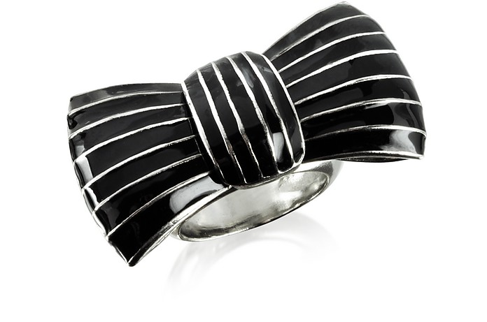 Liz Black Enamel Bow Ring - Sonia Rykiel