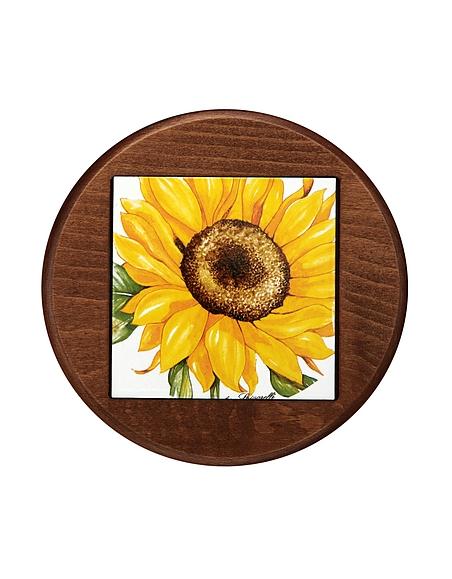 Spigarelli Untersetzer aus Keramik und Holz mit Sonnenblumendesign