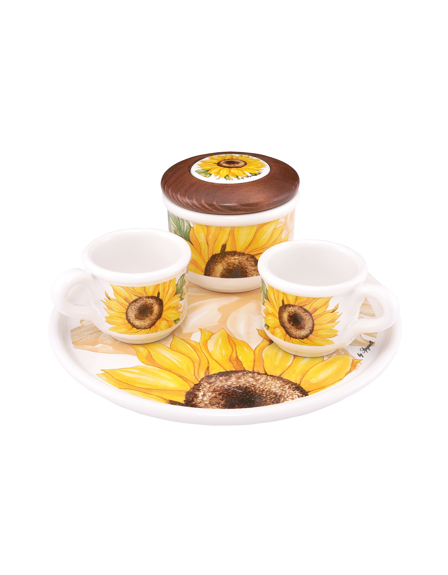 Image of Spigarelli Designer Kitchen & Dining, Sugar and Mocha Cups Sunflower Ceramic Set w/Tray
