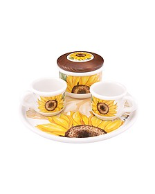 Sugar and Mocha Cups Sunflower Ceramic Set w/Tray - Spigarelli