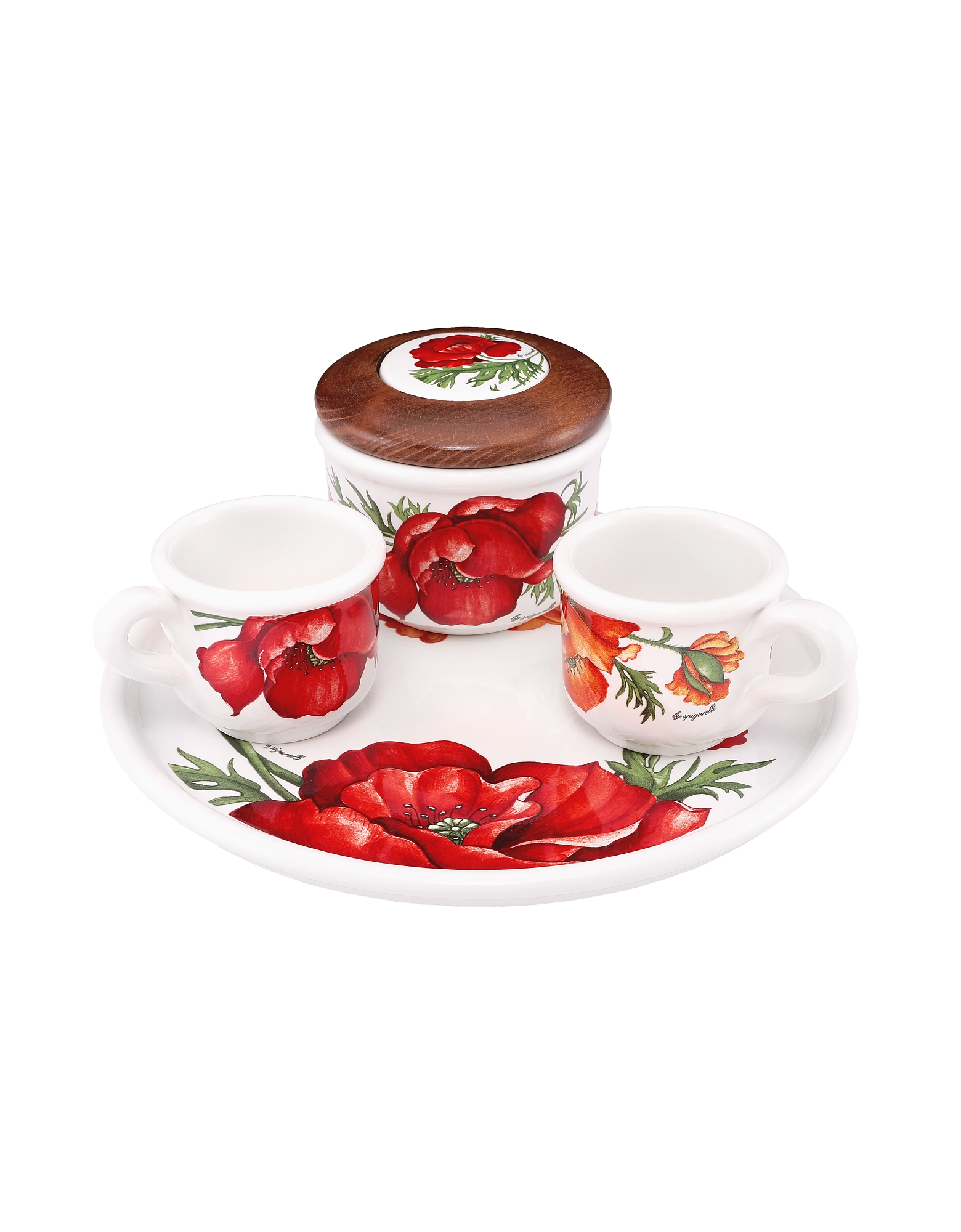 Image of Spigarelli Designer Kitchen & Dining, Sugar and Mocha Cups Poppy Ceramic Set w/Tray