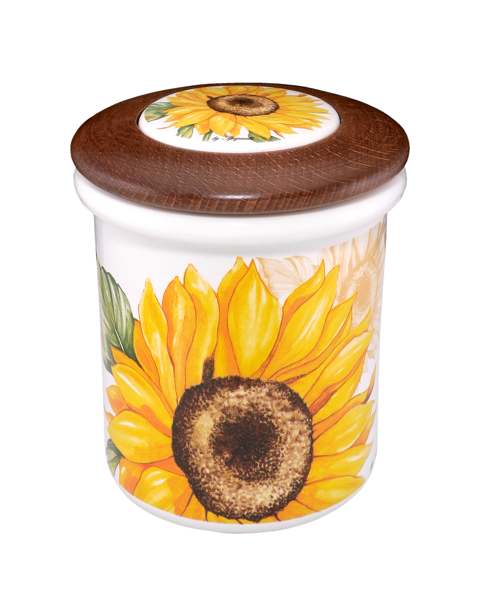 Image of Spigarelli Designer Kitchen & Dining, Sunflower Ceramic and Wood Jar