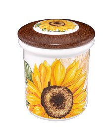 Sunflower Ceramic and Wood Jar  - Spigarelli