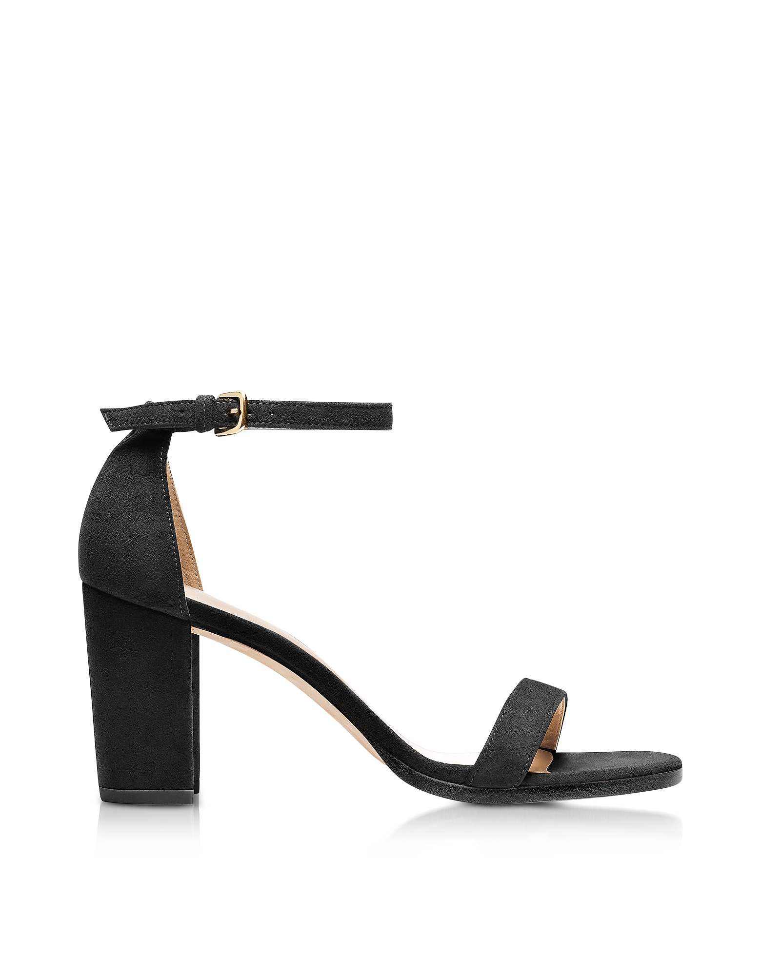 Stuart Weitzman Shoes, Nearlynude Black Suede Heel Sandals