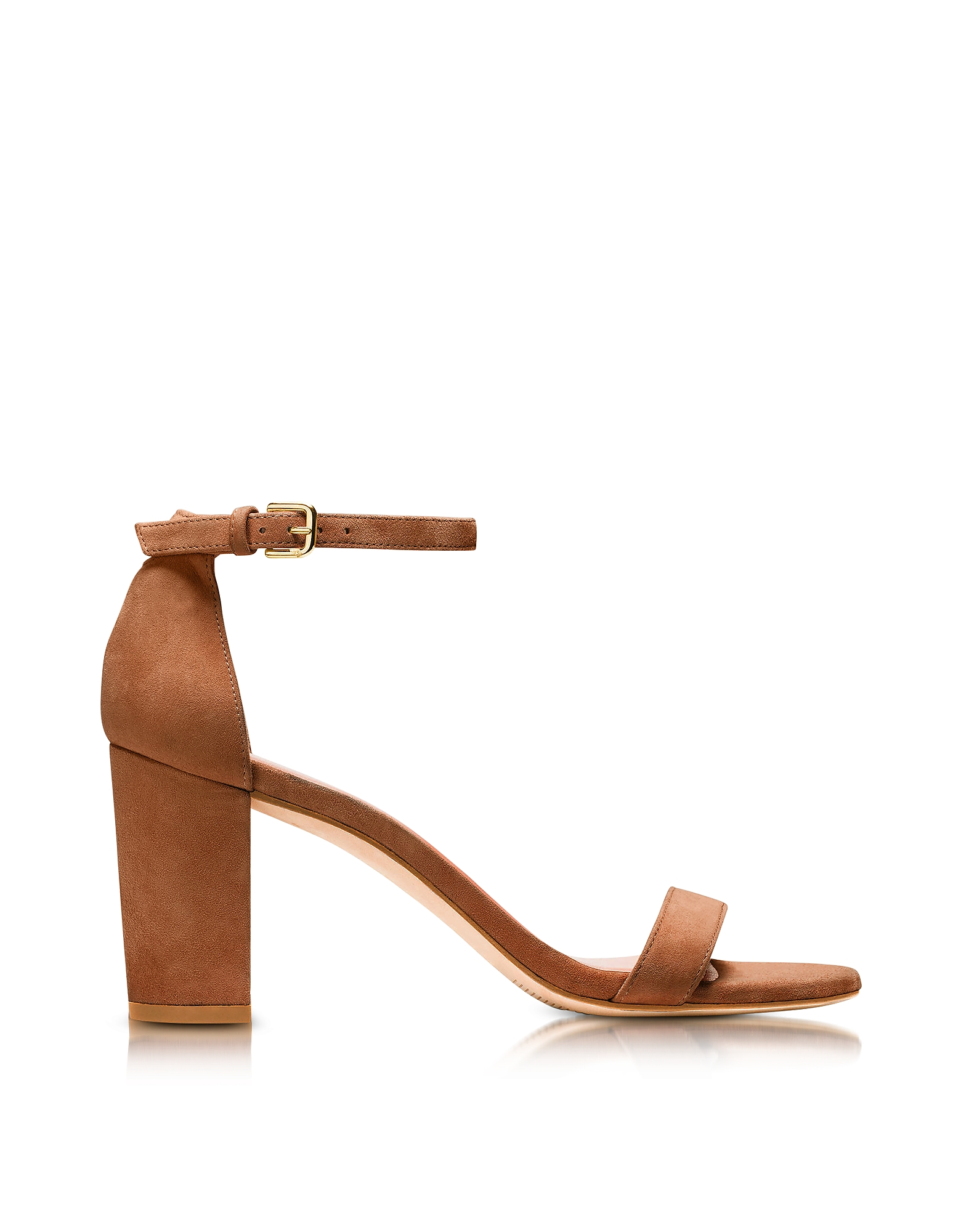 Stuart Weitzman Shoes, Nearlynude Saddle Brown Suede Heel Sandals
