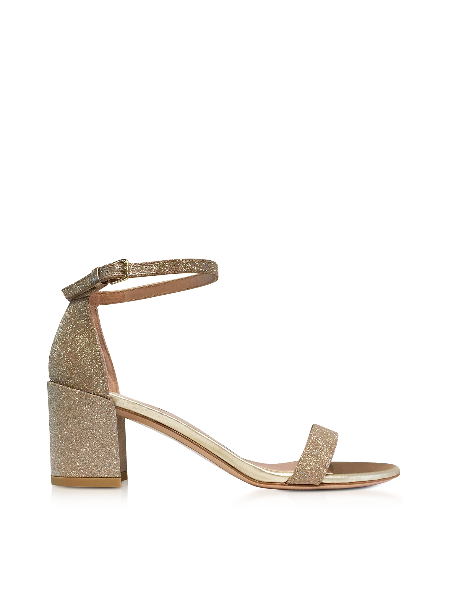Stuart Weitzman Shoes, Simple Gold Glitter Mid Heel Sandals