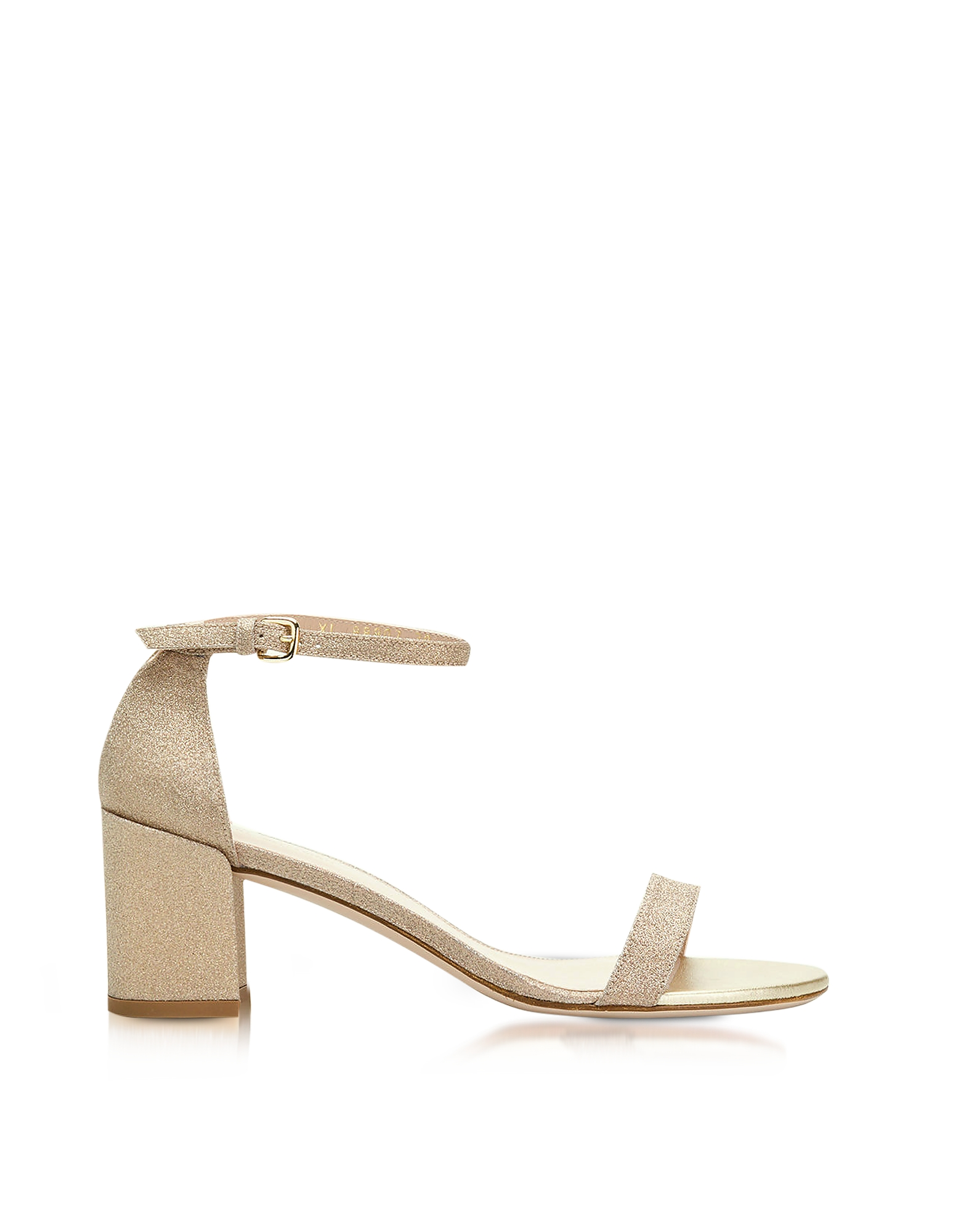 Stuart Weitzman Shoes, Simple Gold Glitter Mid Heel Sandals