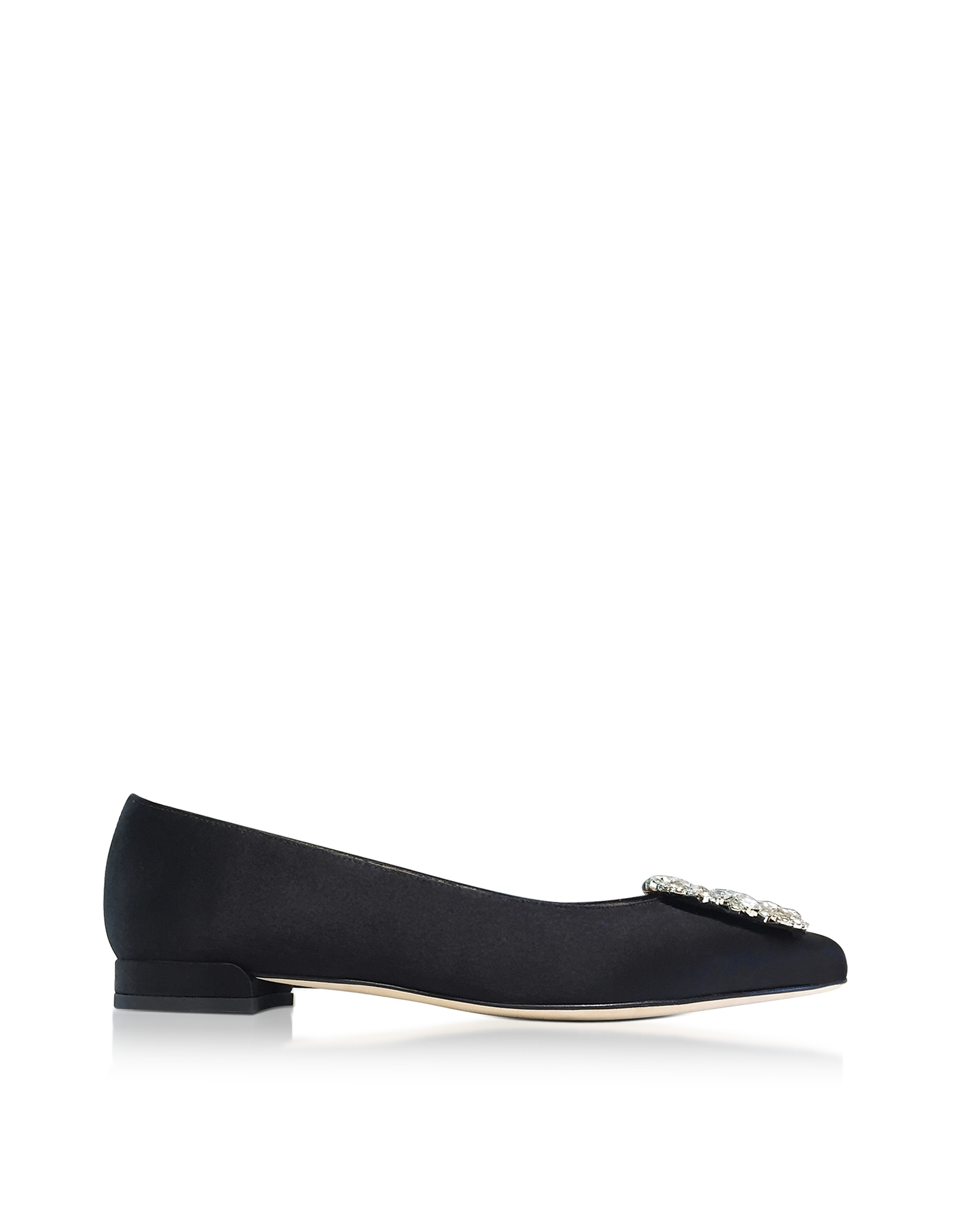 Stuart Weitzman Shoes, Fetching Black Satin Pointed Toe Flat Ballerinas w/Crystals