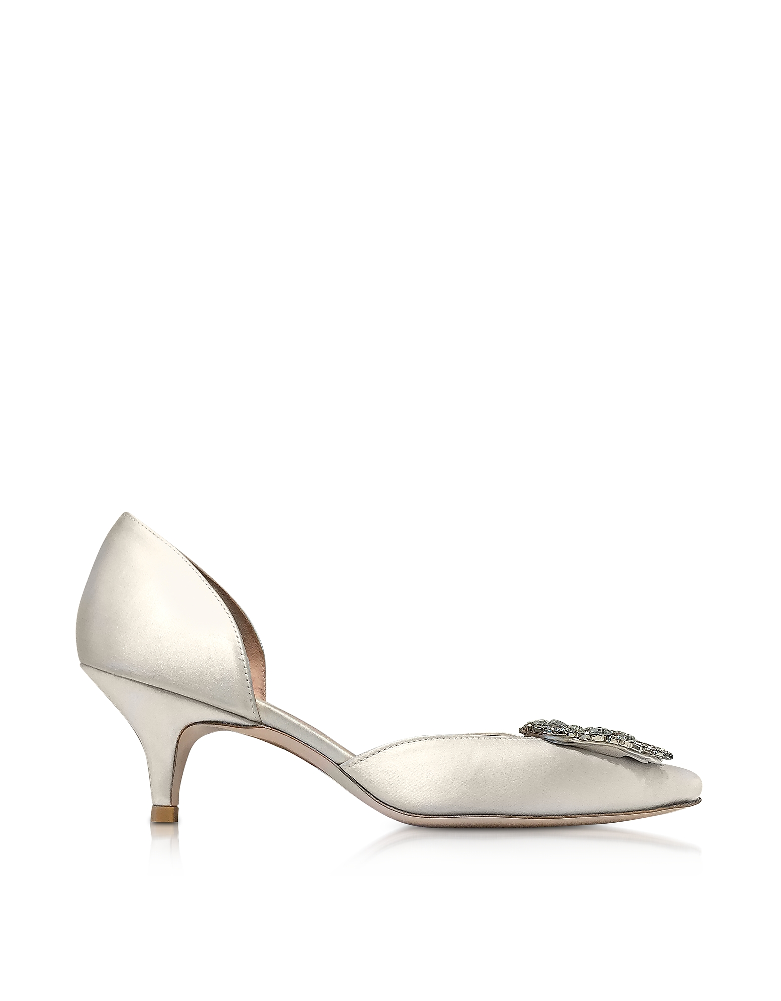 Stuart Weitzman Shoes, Firedance Ivory Satin Pointed Toe Kitten Heel Pumps w/Crystals
