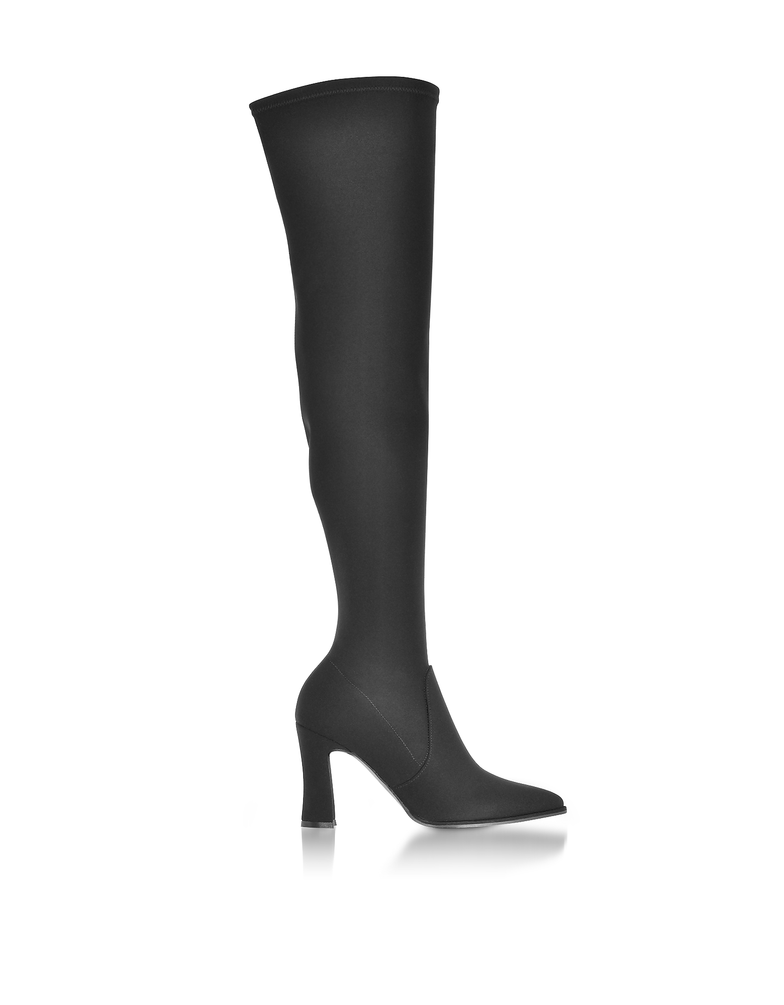 Hirise Black Micro Stretch Fabric High Heel Over The Knee Boots