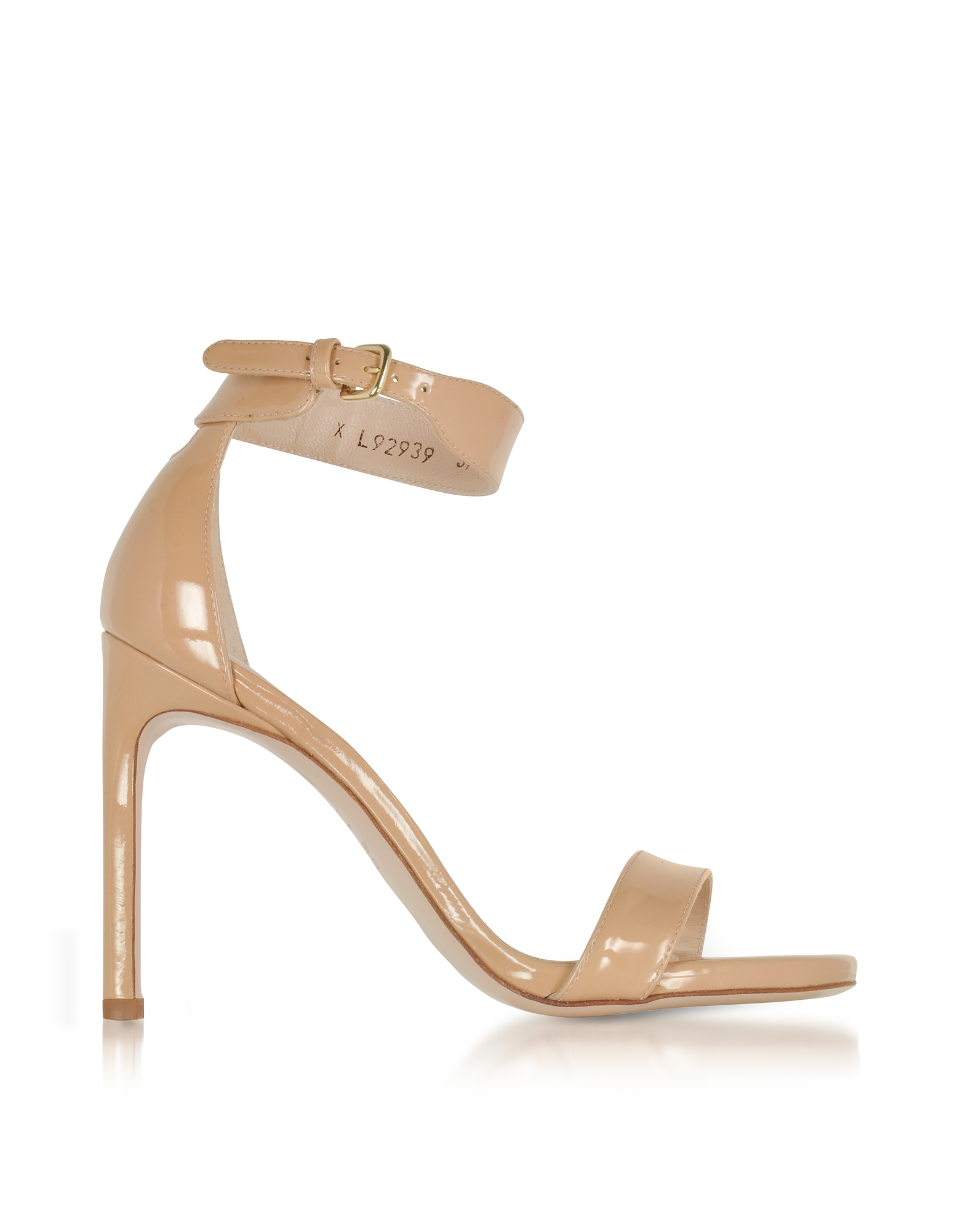 Stuart Weitzman Shoes, Backup Tiz Adobe Aniline Nude Patent Leather Sandals