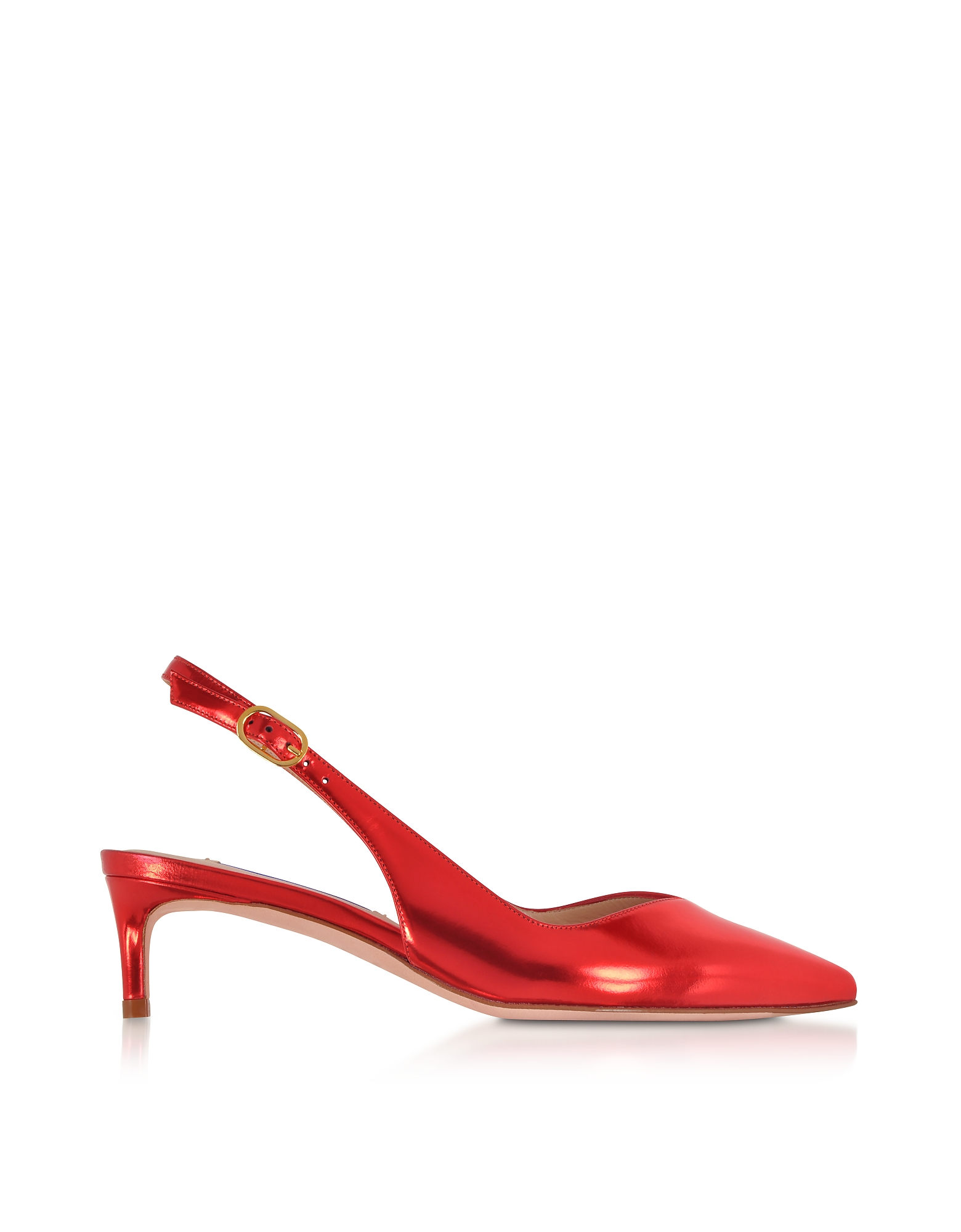 Edith Metallic Red Leather Slingback Shoes
